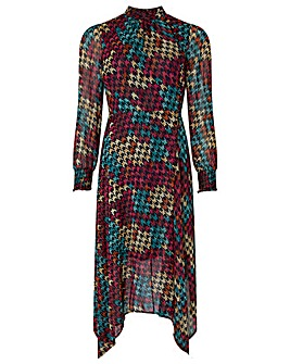 Monsoon Hazel Houndstooth Midi Dress