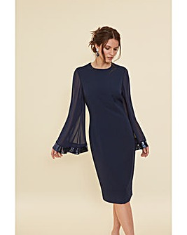 Gina Bacconi Hania Moss Crepe Dress