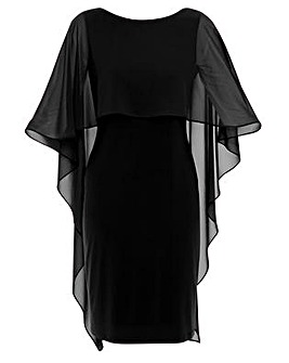 Gina Bacconi Kaisa Chiffon Cape Dress