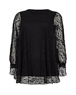 Mela London Curve Floral Lace Tunic Top