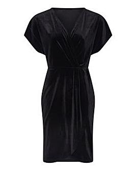 Mela London Curve Wrap Front Velvet Dres