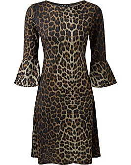 GRACE AnimalPrint Midi Dress Cuff Detail