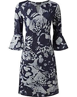 GRACE Melange Print Dress Keyhole Clasp