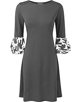 GRACE Melange Dress Contrast Frill Cuff