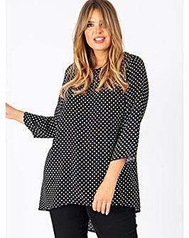 Lovedrobe GB Polka Dot Dip Hem Blouse