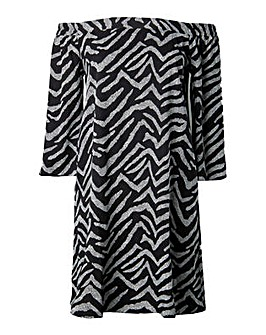 Lovedrobe GB Zebra Print Bardot Dress