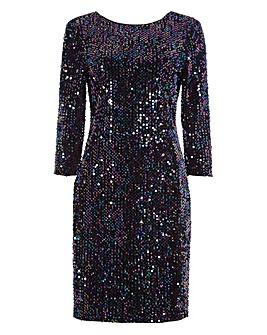 Roman Velvet Sequin Shift Dress