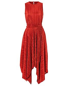 Roman Plisse Hanky Hem Midi Dress