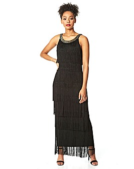 Roman Sequin Neckband Fringe Maxi Dress
