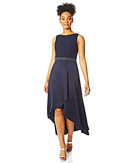 Roman Embellished Dipped Hem Midi Dress