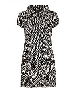 Mela London Curve Cowl Neck Zip Dress