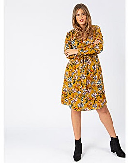 Koko Mustard Floral Wrap Dress