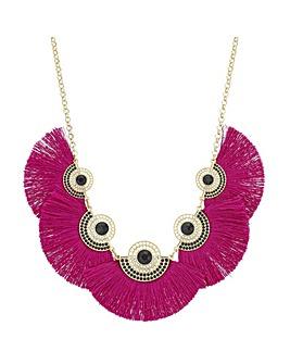 Mood Pink Fringe Statement Necklace