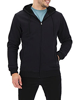 Black Fleece Lined Full Zip Sweatshirt