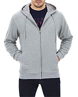 Grey Marl Fleece Lined Full Zip Sweatshirt