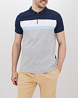 Zip Front Taping Polo Long