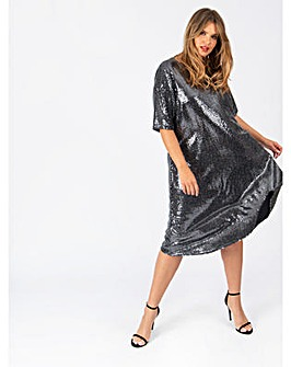 Lovedrobe GB Silver Lurex Shift Dress