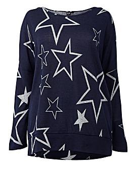 Izabel London Curve Star Print Sweater