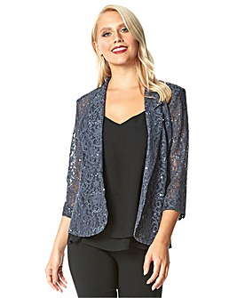 Roman Lace Sequin Embellished Blazer
