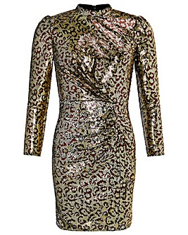 Monsoon Tory Leopard Sequin Short Dress