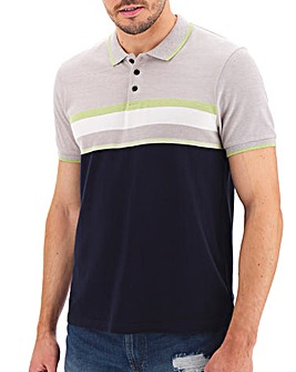 Neon Stripe Colour Block Polo Long