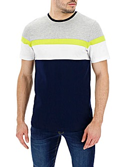 Neon Colour Block Crew Neck T-shirt Long