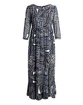 Koko Abstract Print Ruffle Hem Max Dress