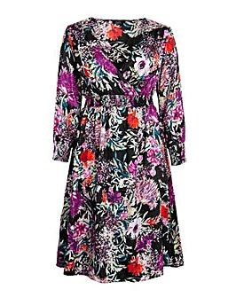 Koko Satin Floral Shirred Midi Dress