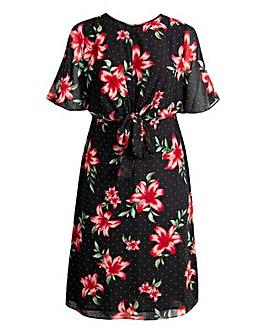Koko Floral Print Tie Front Dress