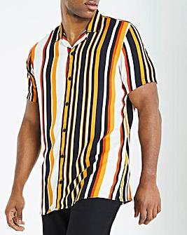Revere Collar Multi Colour Stripe Shirt Long