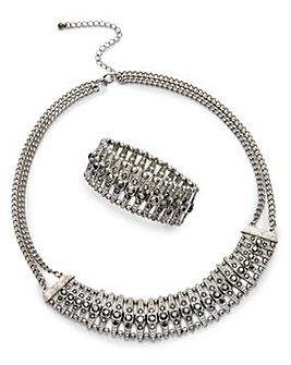 Statement Necklace And Bracelet Set