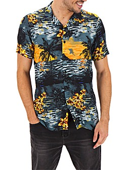 Tropical Print Viscose Shirt Long
