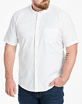 White Stretch S/S Grandad Shirt