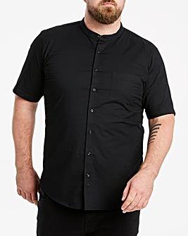 Black Stretch S/S Grandad Shirt L