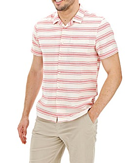 Red and Ecru Revere Collar Horizontal Stripe Shirt Long