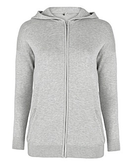 Light Grey Marl Hooded Sportive Cardigan