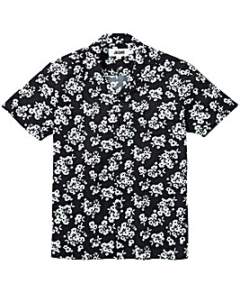 Black Floral Print Viscose Shirt Long