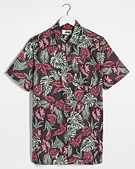 Dark Floral Short Sleeve Shirt Long