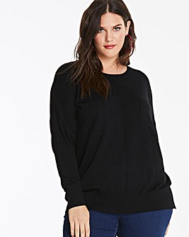 Black Boxy Jumper with Pocket Detail