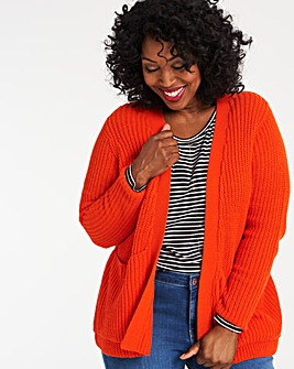 Deep Orange Boxy Edge to Edge Cardigan