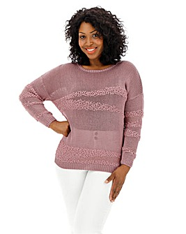 Deep Pink Textured Yarn Jumper
