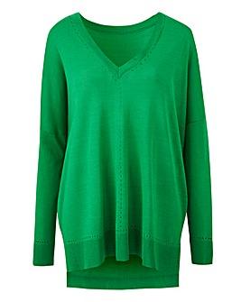 Green Lightweight Pointelle Jumper
