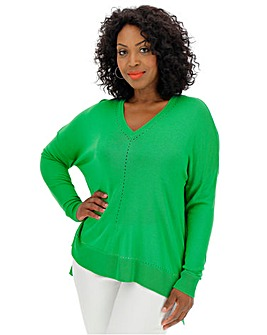 Green Lightweight Pointelle Jumper