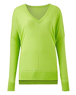 Lime Lightweight Pointelle Jumper