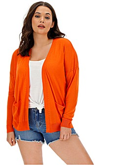 Orange Lightweight Edge to Edge Cardigan