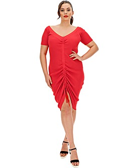 Red Ruched Knitted Dress