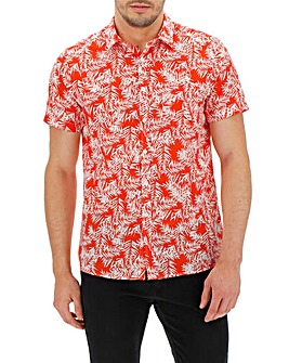 Red Floral Short Sleeve Shirt Long