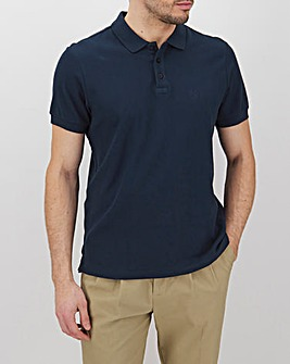 Navy Embroidered Polo Long