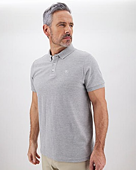 Grey Marl Embroidered Polo Long