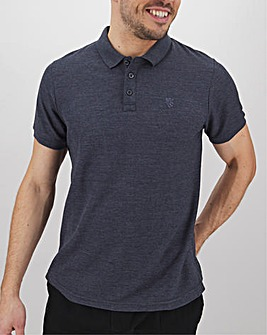 Denim Marl Embroidered Polo Long